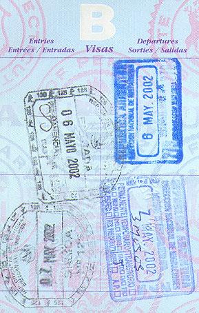 US passport, stamps