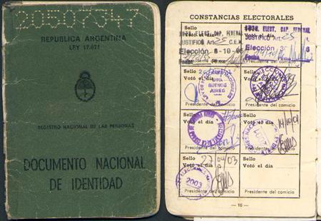 Argentina, DNI, constancias electorales