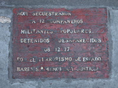Buenos Aires, San Cristóbal, desaparecidos plaque