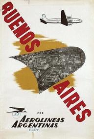Argentina, travel poster, Buenos Aires, Aerolíneas Argentinas
