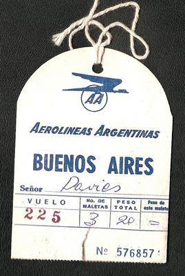 Aerolíneas Argentinas, luggage tag, Buenos Aires