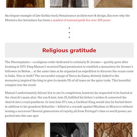 Mosteiro dos Jerónimos guide, webpage