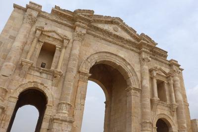 Jordan, Jerash, Roman ruins, Hadrian's gate