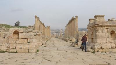 Jordan, Jerash, Roman ruins, tetrapylons