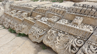 Jordan, Jerash, Roman ruins, entrance gate of Temple of Artemis