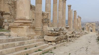 Jordan, Jerash, Roman ruins, entrance to Temple of Artemis