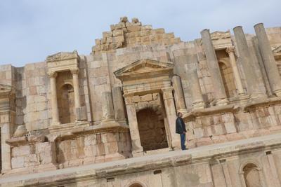 Jordan, Jerash, Roman ruins, theater stage