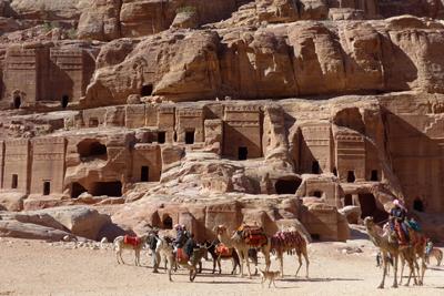 Jordan, Petra, street of façades, camels