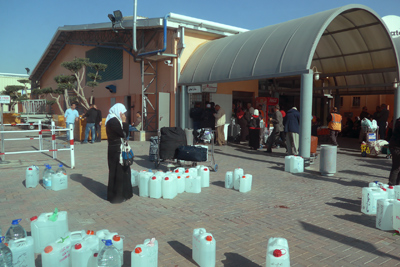 Israel, Allenby border crossing, water jugs