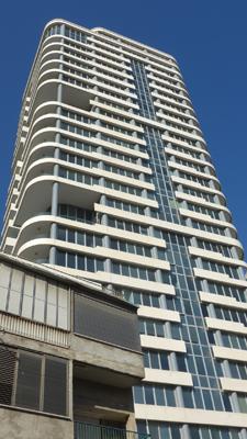 Israel, Tel Aviv, modern Bauhaus skyscraper
