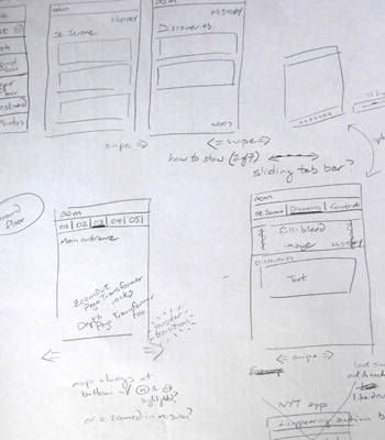 Endless Mile, sketching out Android app design