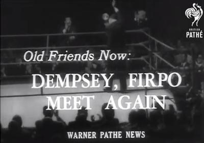 British Pathé newsreel capture, Dempsey & Firpo meet again