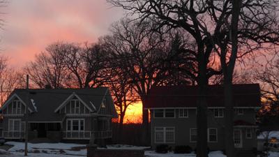 USA, Iowa, Cedar Rapids, sunset
