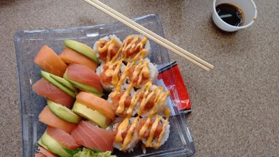 USA, Iowa, Cedar Rapids, Fresh Market, sushi