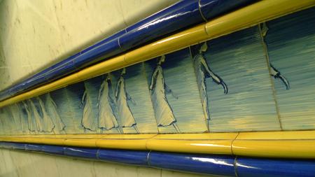 Portugal, Lisboa, Metro, subway, Rossio, tiles, azulejos