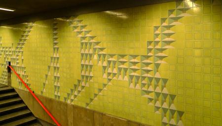 Portugal, Lisboa, Metro, subway, linha azul, tiles, azulejos, Praça de Espanha, Maria Keil