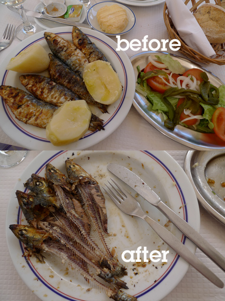 Portugal, sardinhas assadas, grelhadas, before, after, antes, depois
