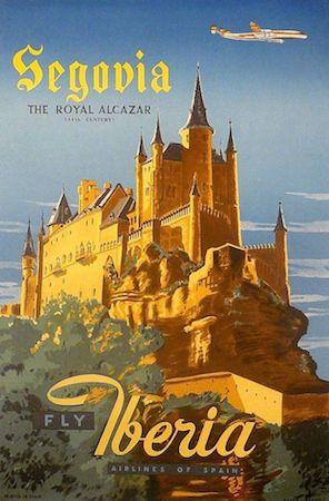 Spain, travel, poster, Iberia, Segovia