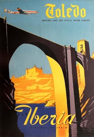 Spain, travel, poster, Iberia, Toledo