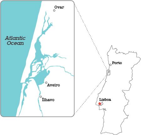 Portugal, mapa, Aveiro, Ovar, Ílhavo