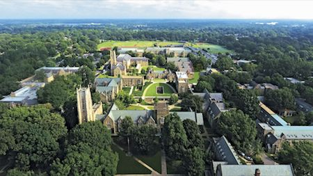 Rhodes College, Memphis, Tennessee, aerial view, drone